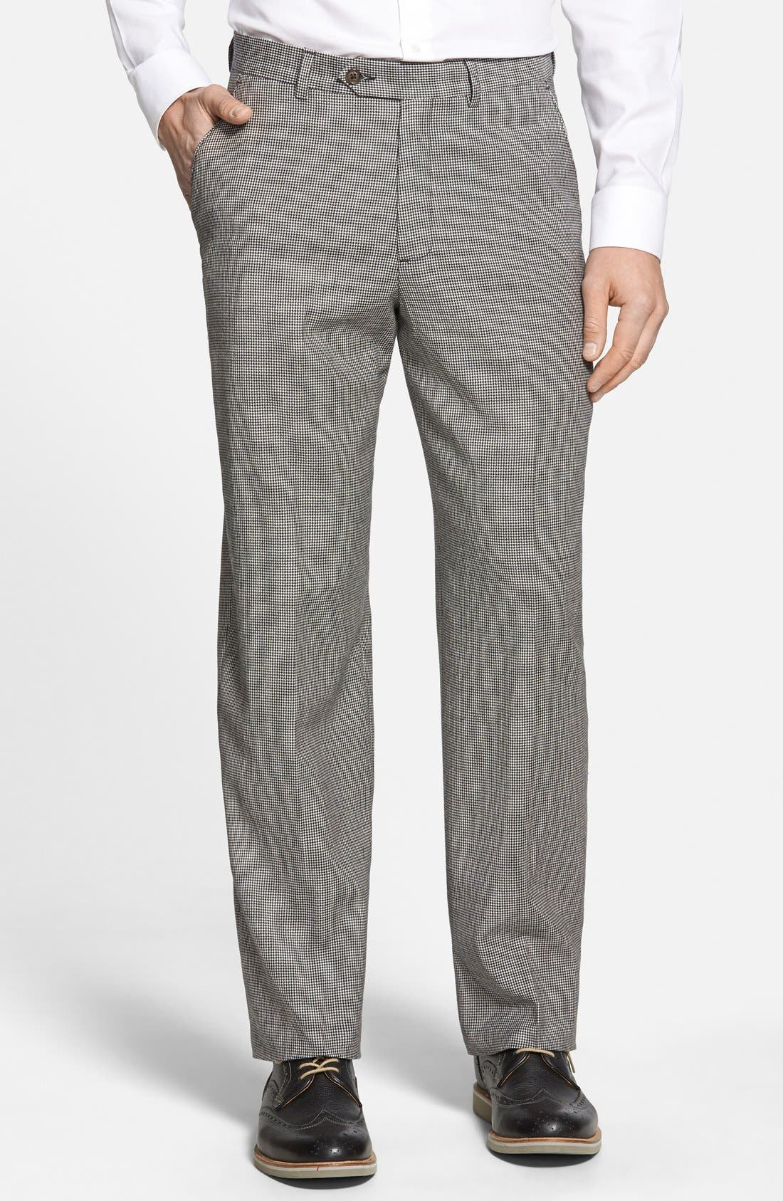 Flat Front Houndstooth Wool Trousers,                         Main,                         color, Charcoal