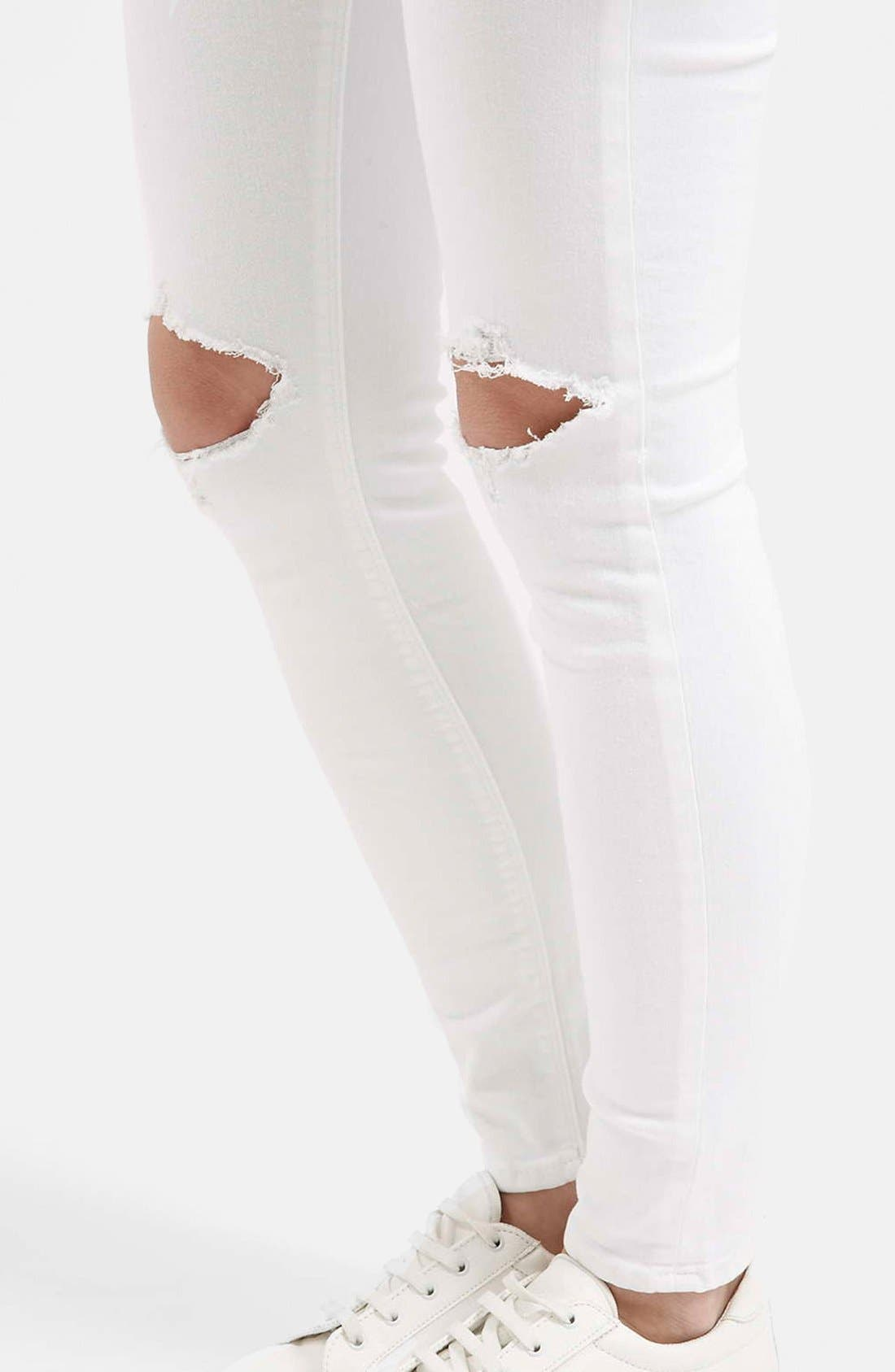 Alternate Image 4  - Topshop Moto 'Jamie' Busted Skinny Jeans (White)