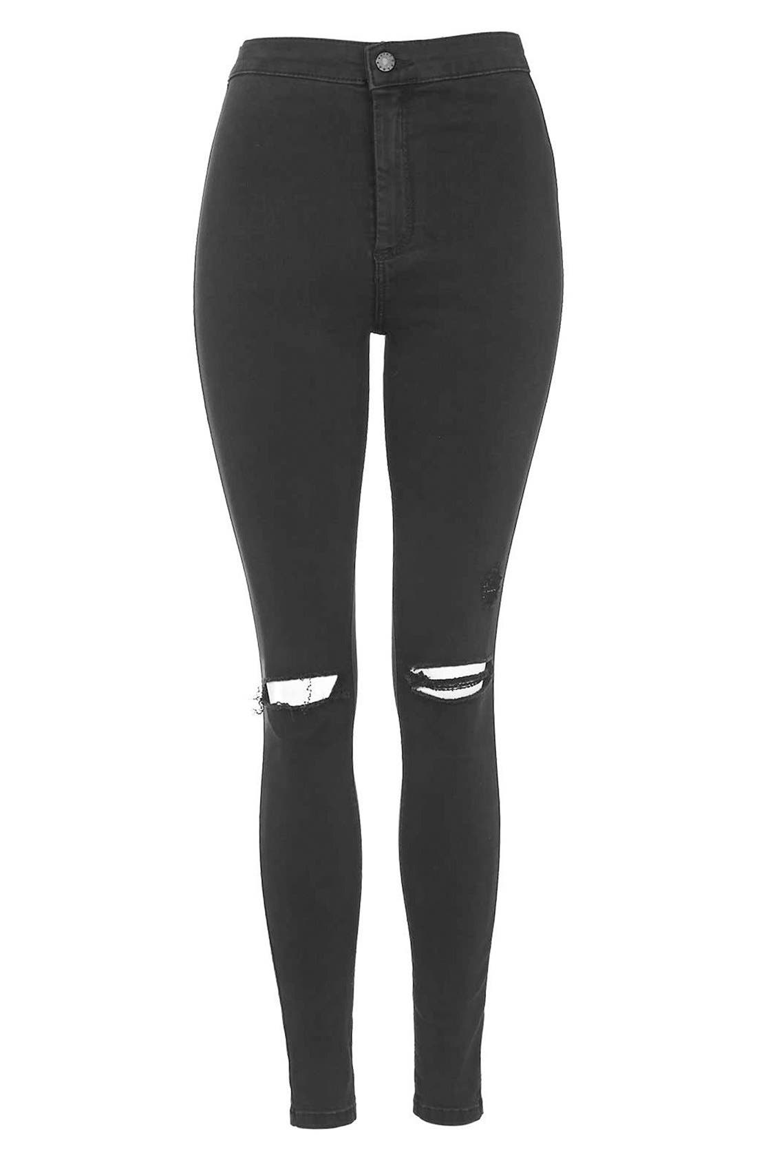 Alternate Image 3  - Topshop Moto 'Joni' Ripped Skinny Jeans (Black)