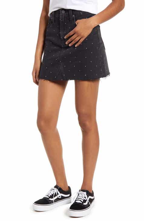 Madewell Metallic Rainbow Dots Rigid Denim A-Line Miniskirt