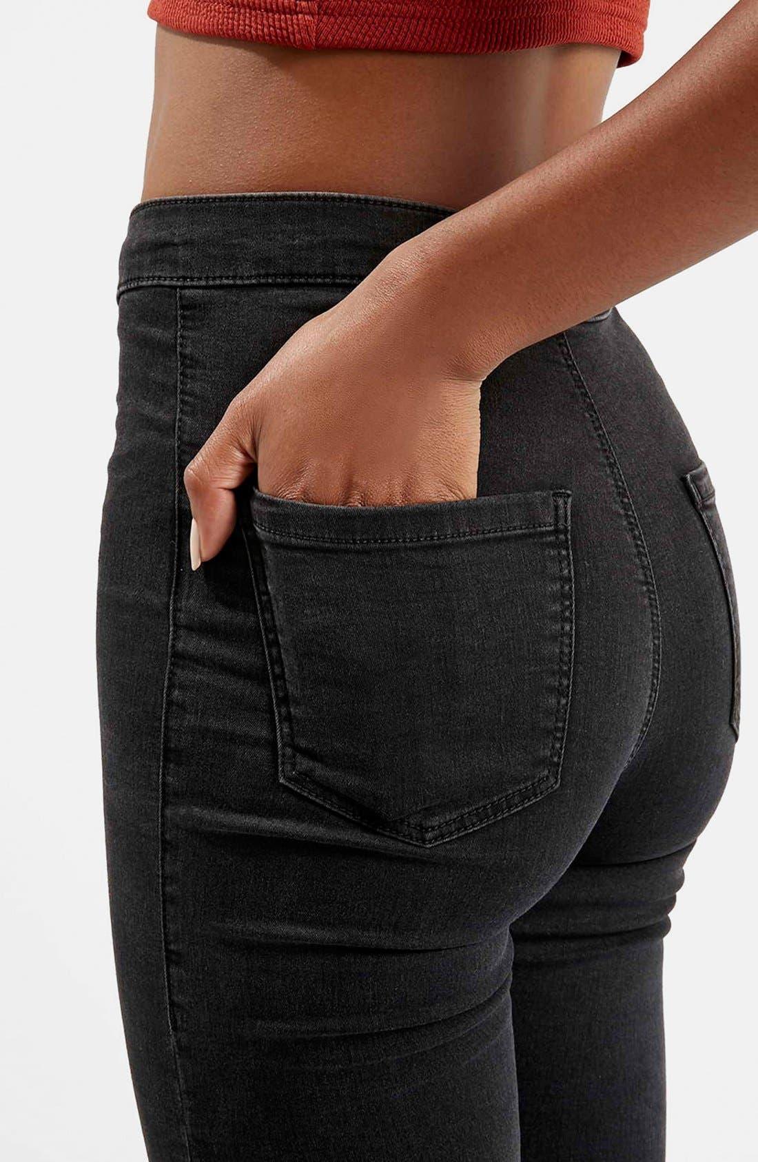 Alternate Image 4  - Topshop Moto 'Joni' Ripped Skinny Jeans (Black)