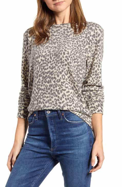 Loveapella Brushed Leopard Print Long Sleeve Crewneck Top