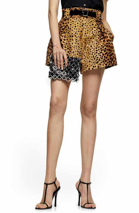 Topshop Leopard Print Genuine Calf Hair Shorts