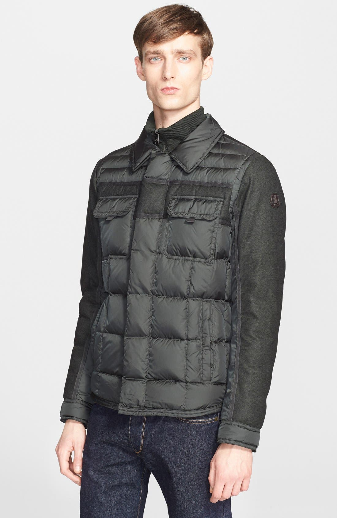 'Blais' Mixed Media Down Jacket,                         Main,                         color, Olive