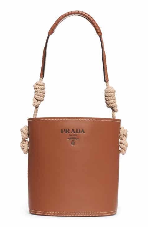 Prada Woven Top Handle Leather Bucket Bag