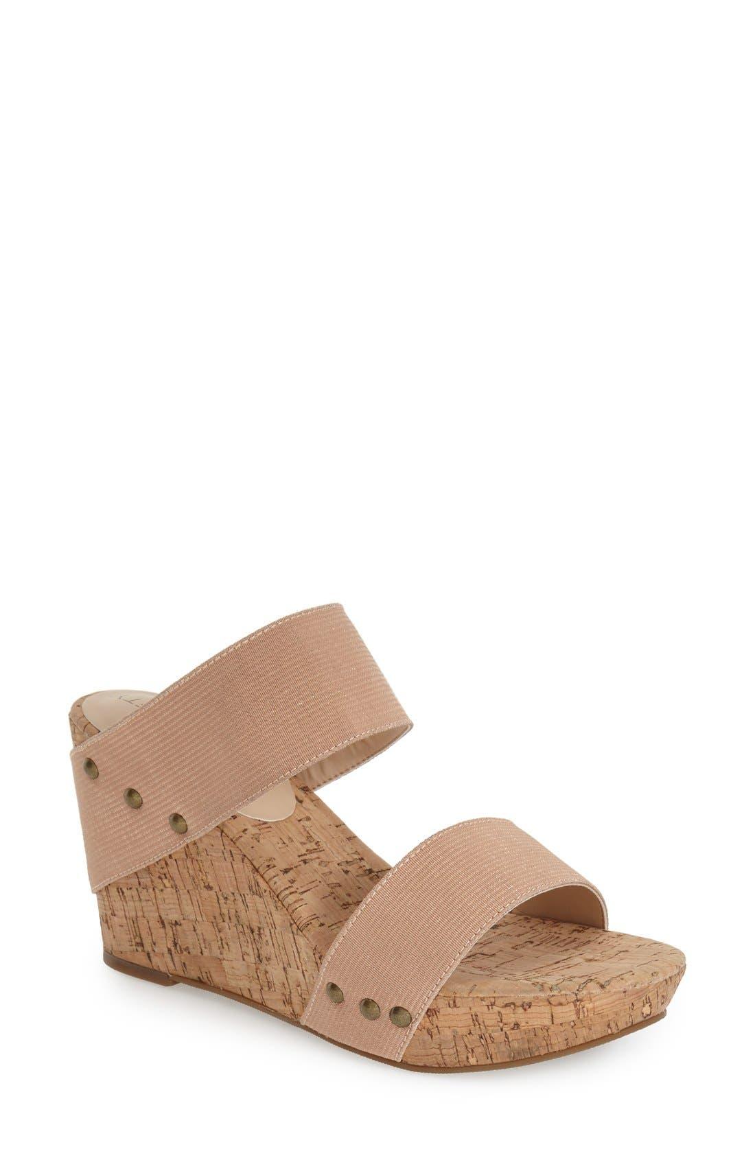 'Emilia 2' Wedge Sandal,                             Main thumbnail 1, color,                             Blush Champagne