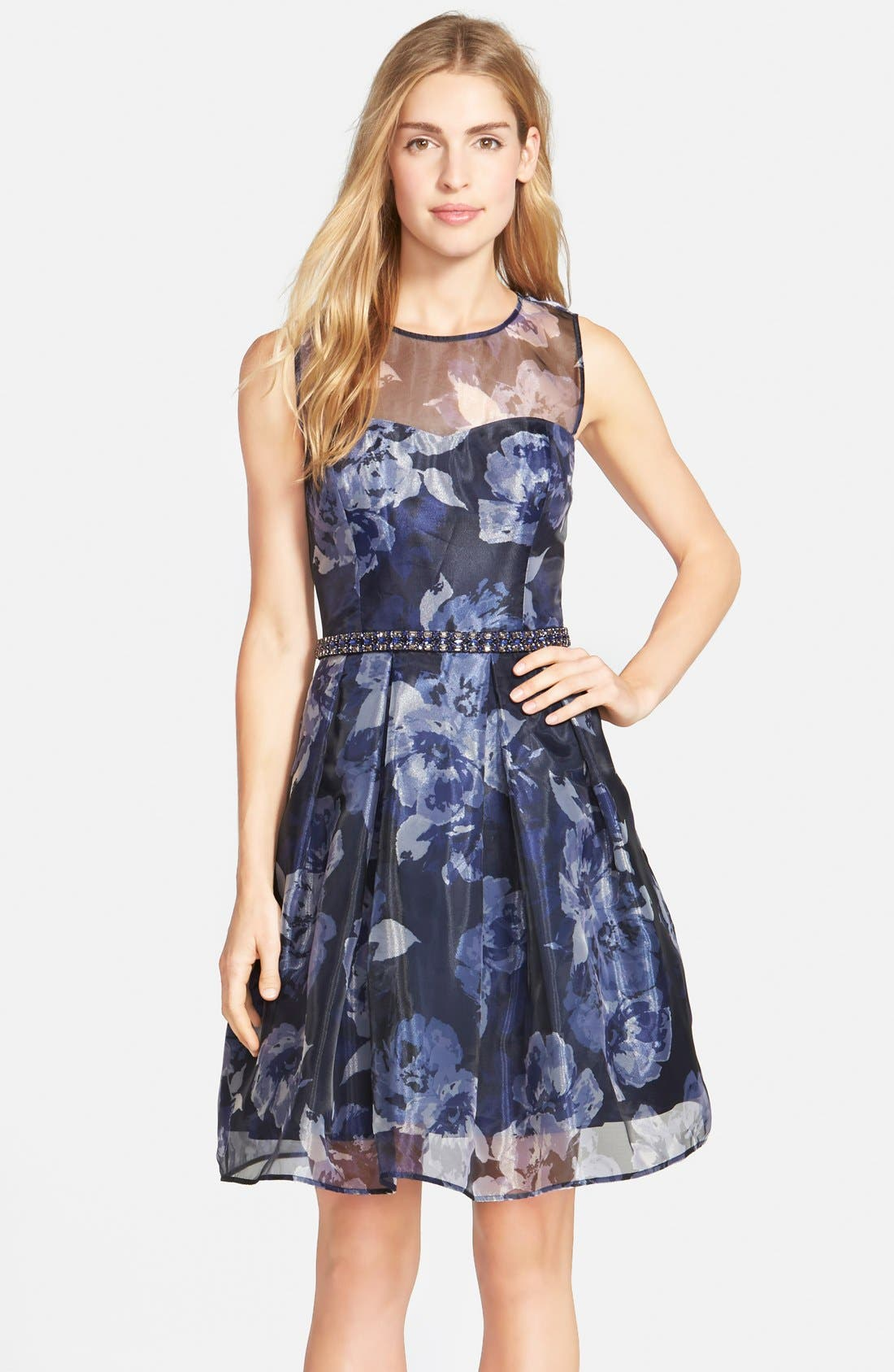 Main Image - Eliza J Embellished Print Illusion Yoke Organza Fit & Flare Dress (Regular & Petite)