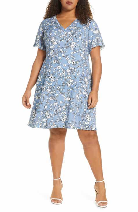 Marée Pour Toi Floral Print Fit & Flare Dress (Plus Size)