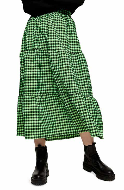 Topshop Gingham Tiered Ruffle Skirt