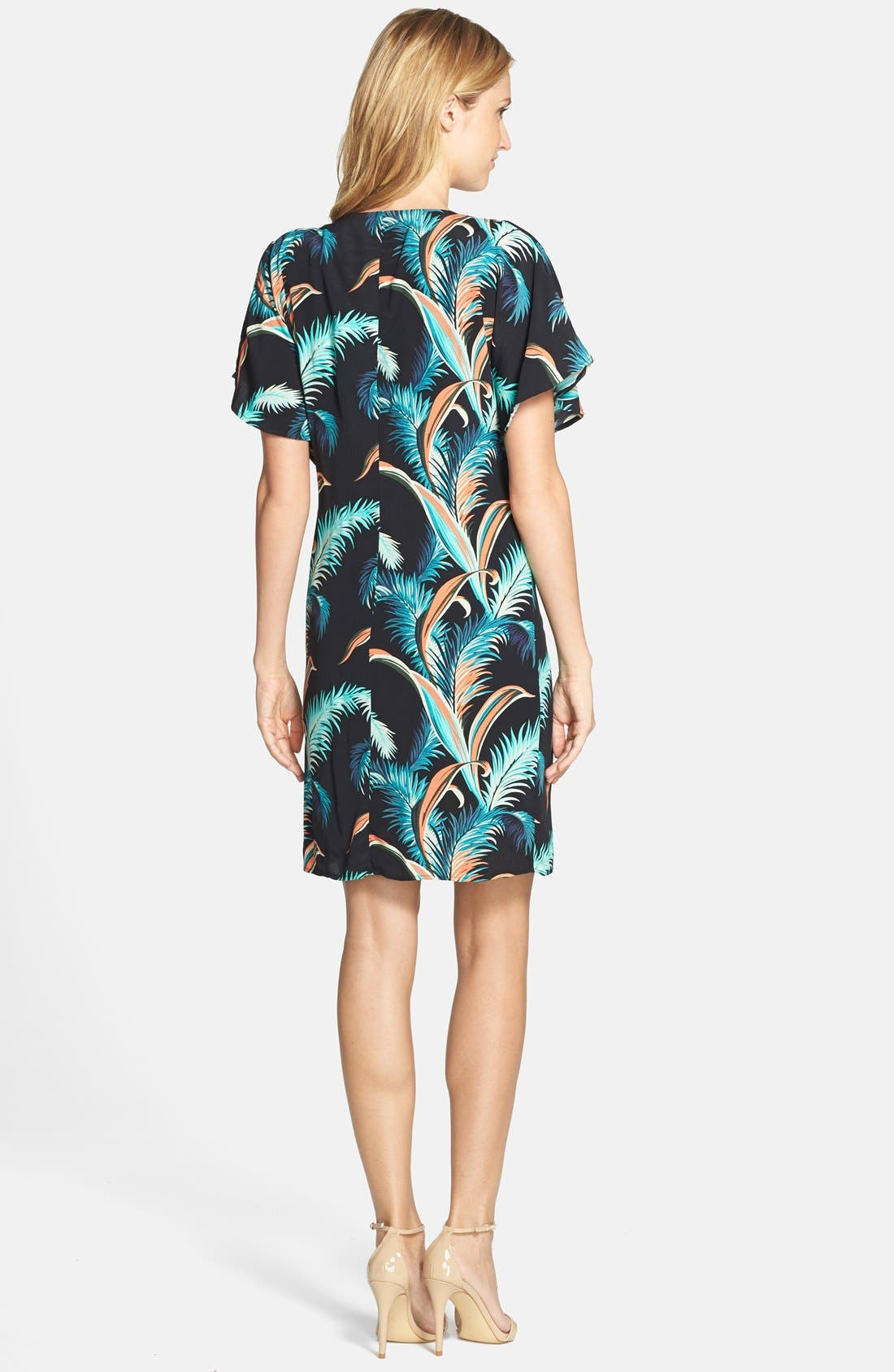 Alternate Image 2  - Adrianna Papell Palm Print Crepe Shift Dress