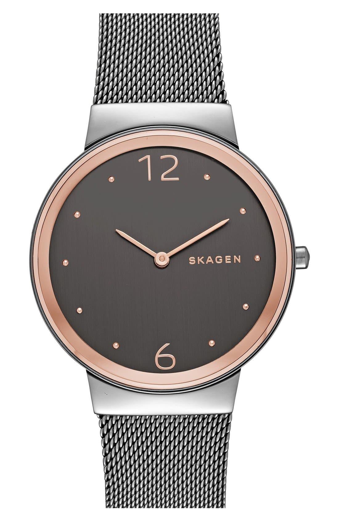 'Freja' Mesh Strap Watch, 34mm,                         Main,                         color, Gunmetal/ Rose Gold