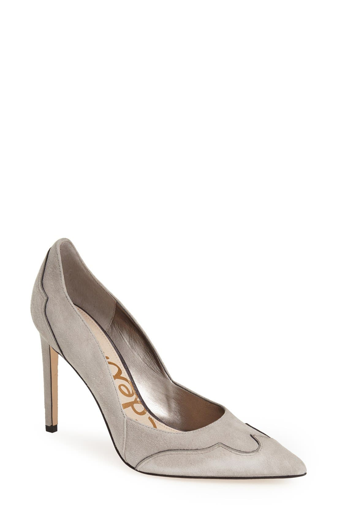 'Dixie' Suede Pointy Toe Pump,                             Main thumbnail 1, color,                             Winter Sky