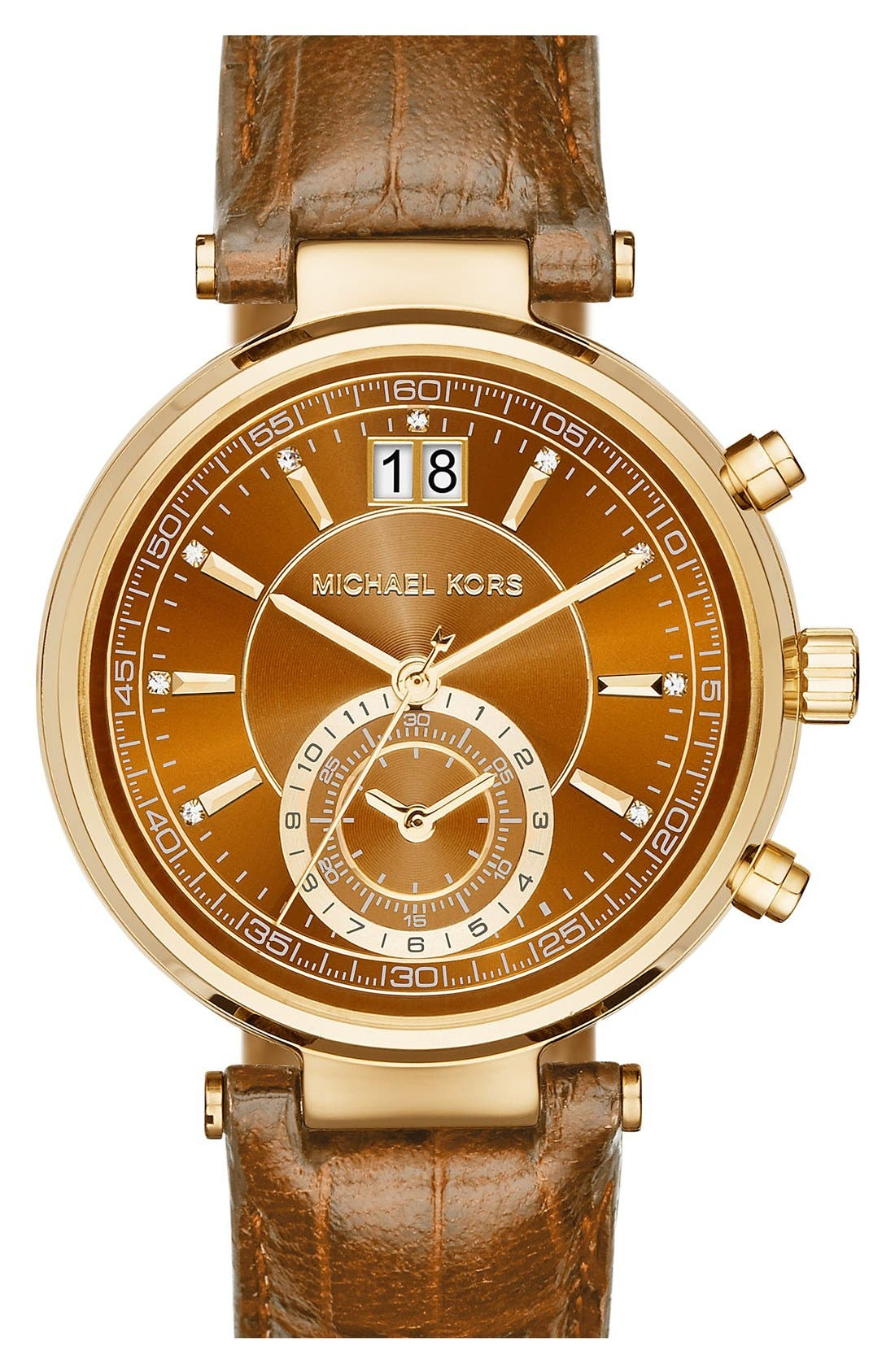 Main Image - MICHAEL Michael Kors 'Sawyer' Leather Strap Watch, 39mm