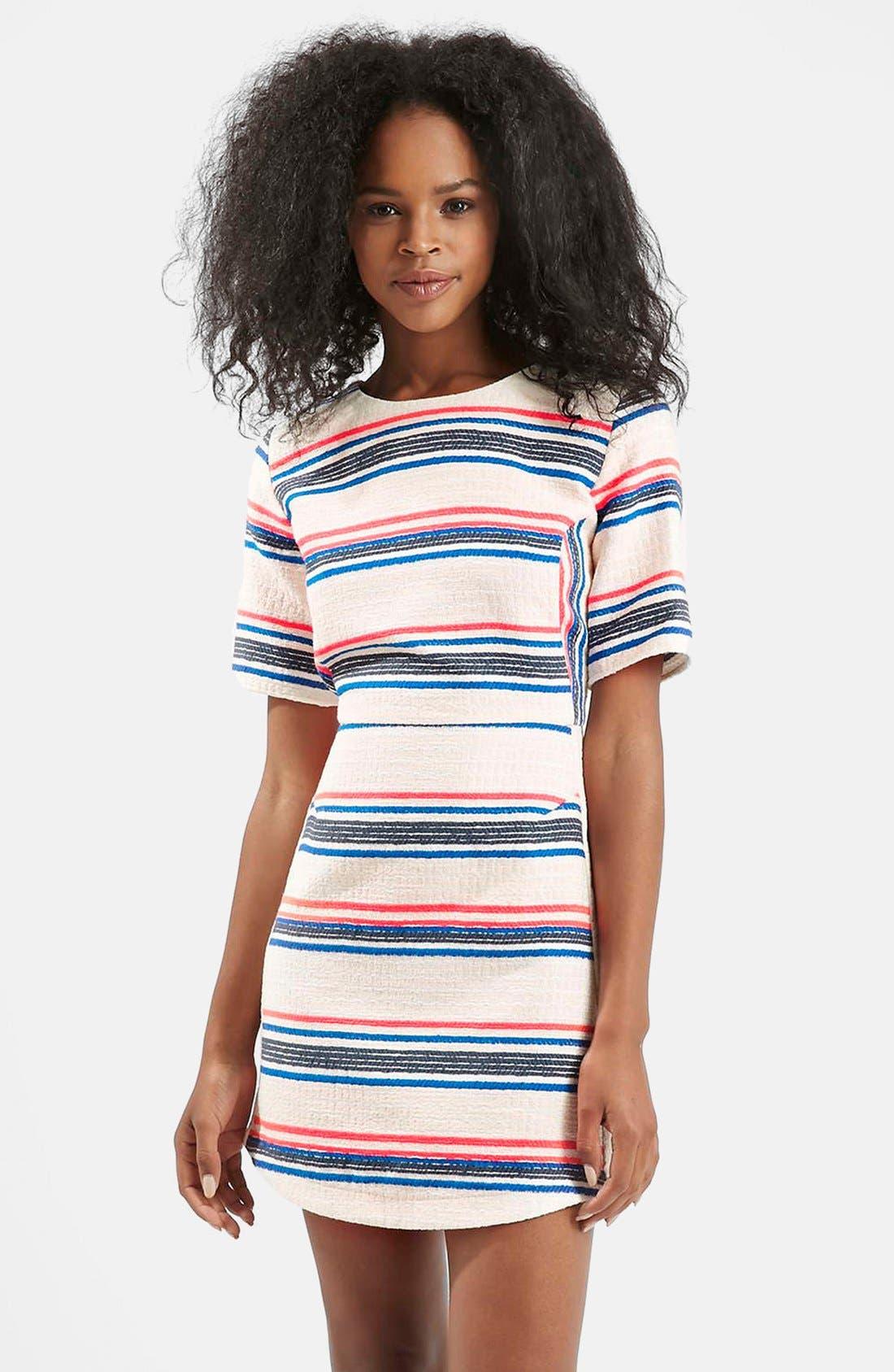 Stripe Jacquard A-Line Dress,                         Main,                         color, White Multi