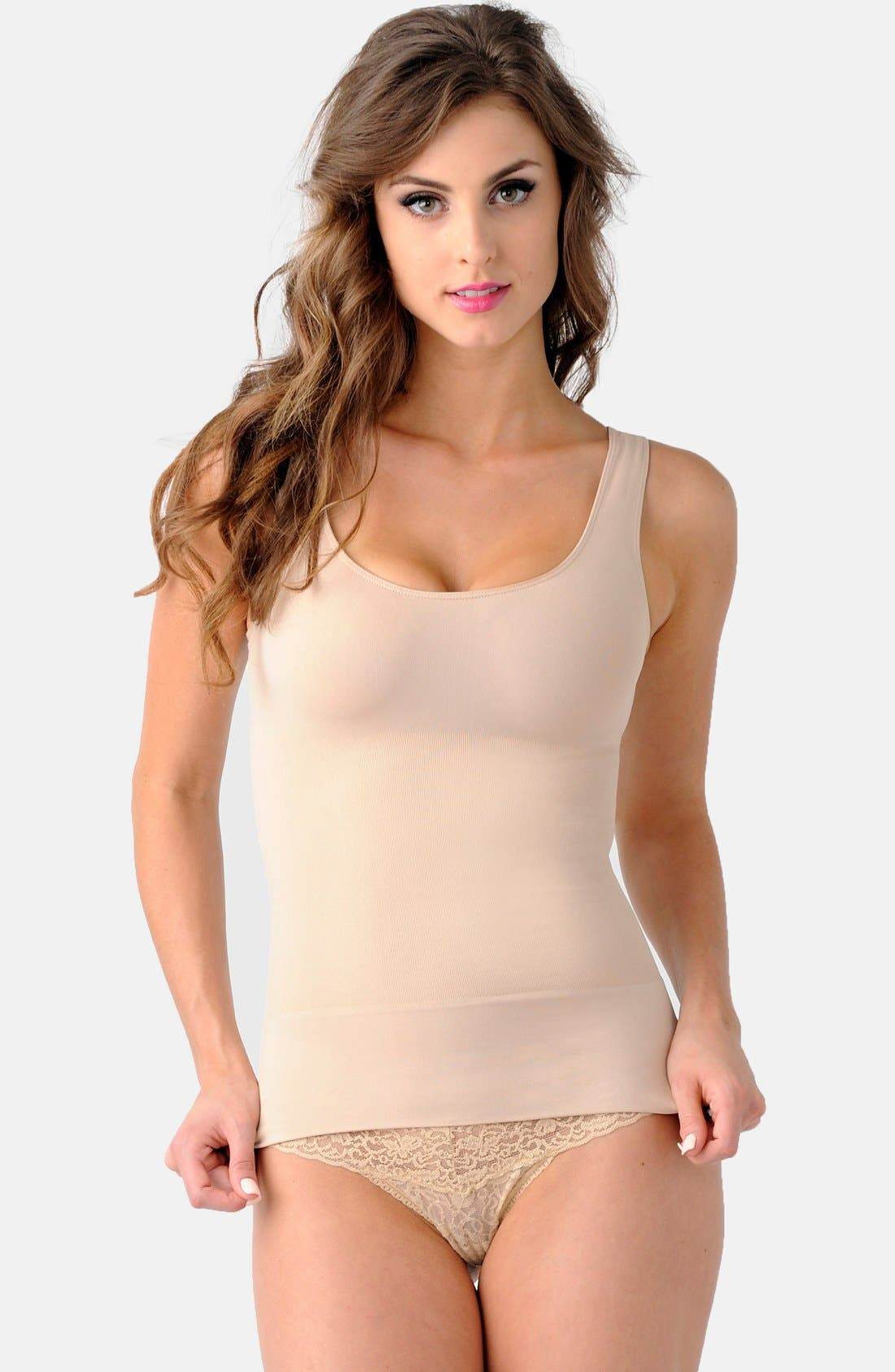 'Mother Tucker<sup>®</sup>' Scoop Neck Compression Tank,                             Main thumbnail 1, color,                             Nude