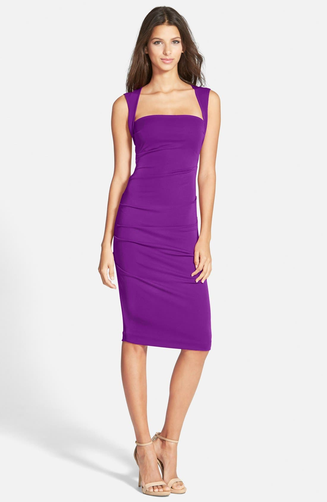Main Image - Nicole Miller Ruched Jersey Pencil Dress