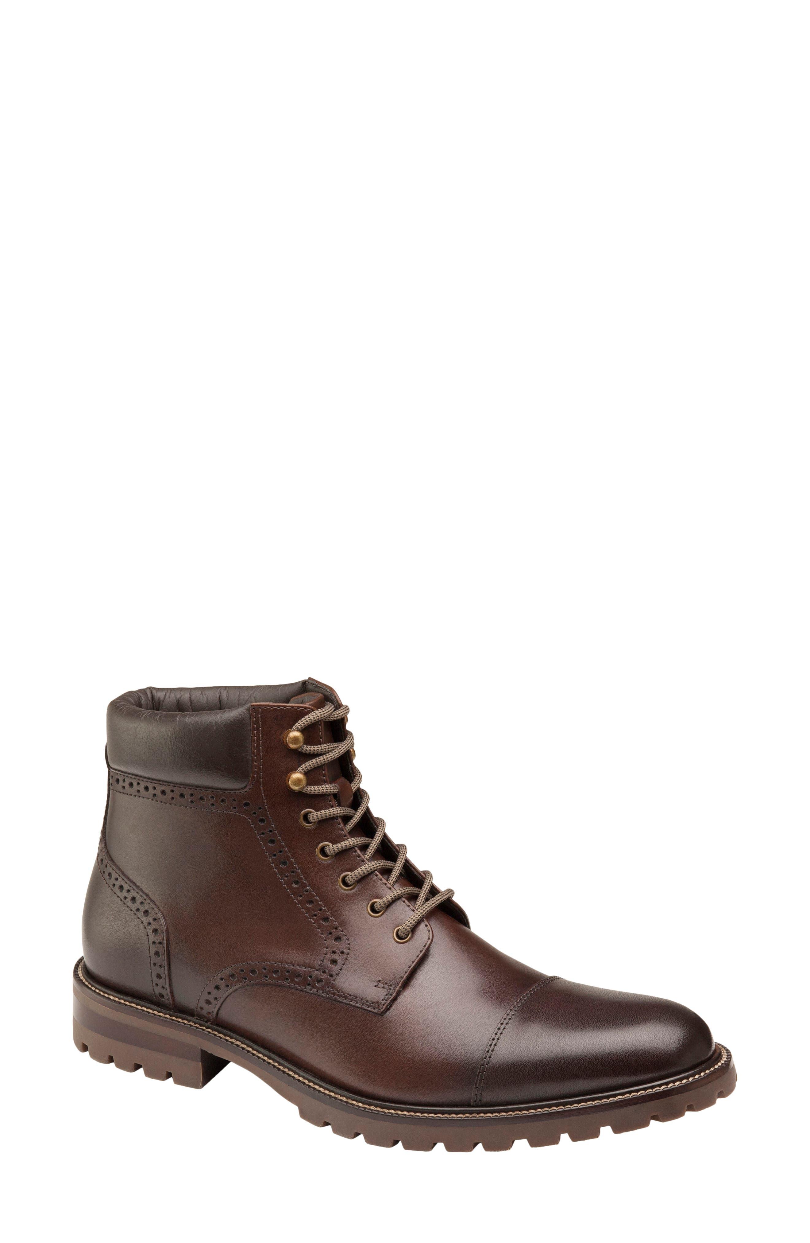 592595 SPBT50 Men/'s Shoes Size 9 M Black Leather Boots Johnston /& Murphy