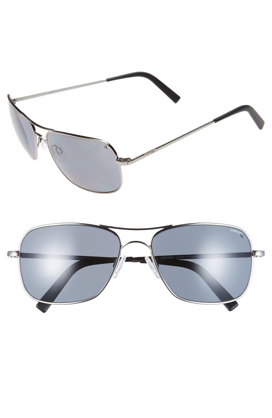 'Archer' 59mm Polarized Sunglasses,                         Main,                         color, Dark Ruthenium/ Gray Pc