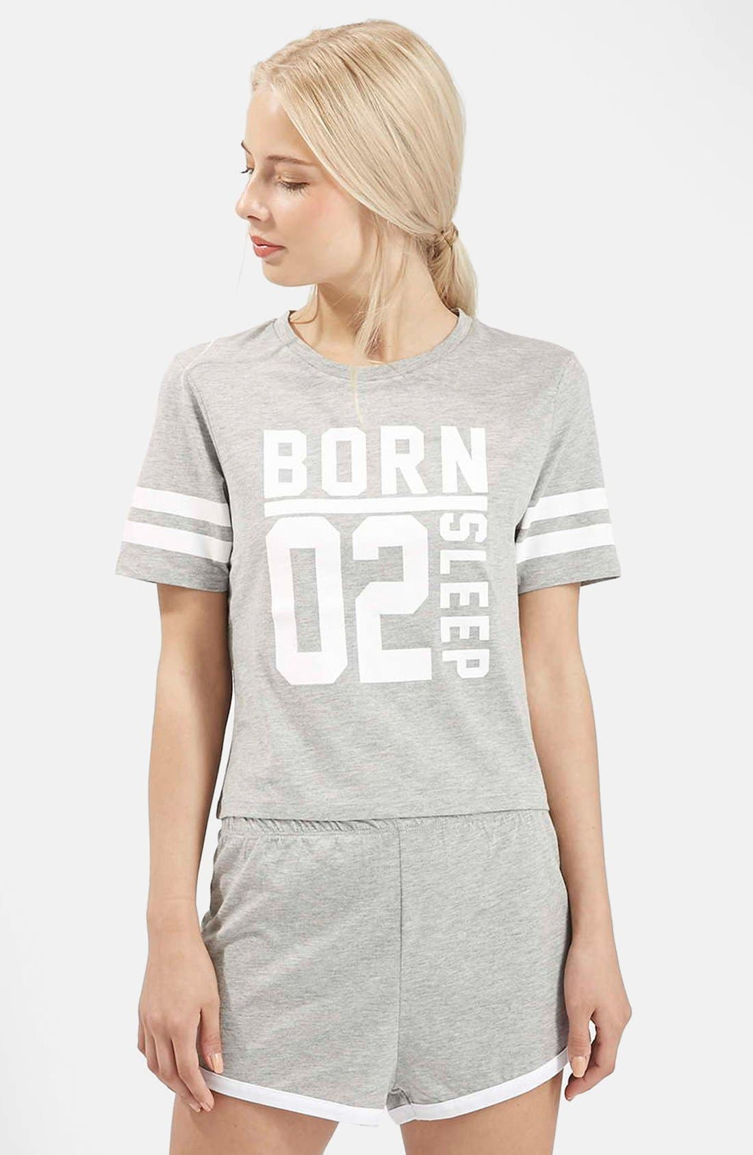 Alternate Image 1 Selected - Topshop 'Born to Sleep' Short Pajamas