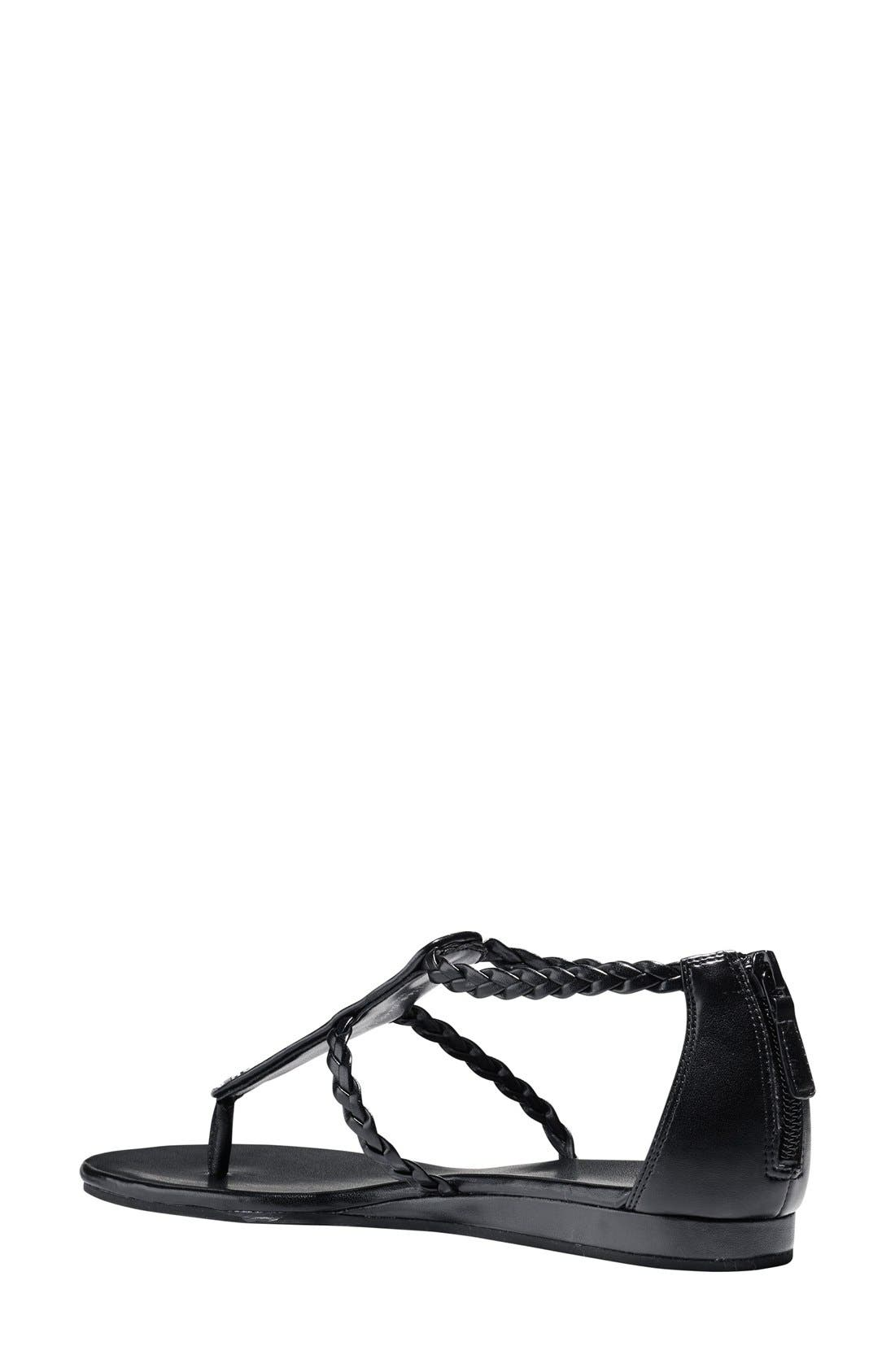 'Abbe' Sandal,                             Alternate thumbnail 7, color,                             Black/ White Leather