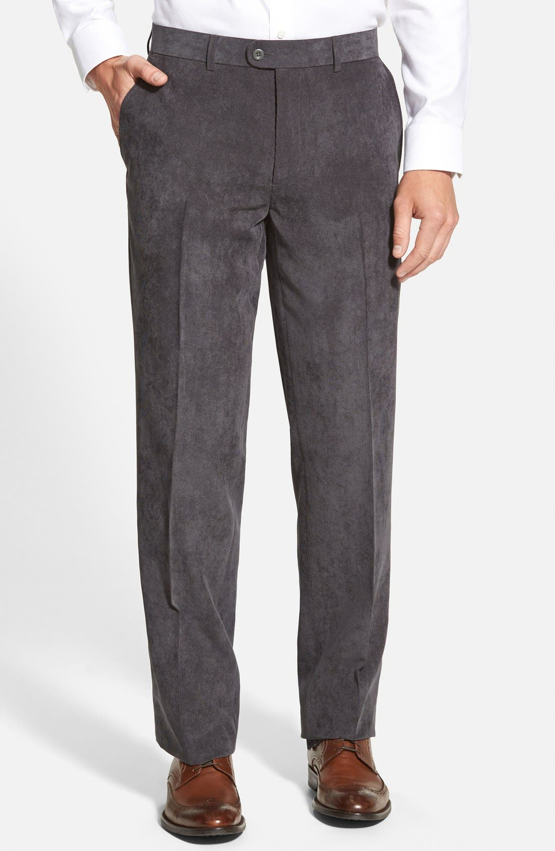 'Micro Air' Wrinkle Resistant Microfiber Corduroy Pants,                             Main thumbnail 1, color,                             Medium Grey