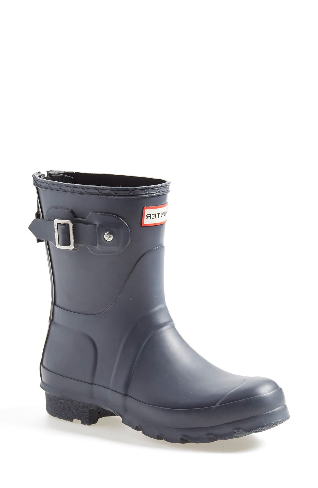 'Short' Back Zip Rain Boot,                             Main thumbnail 1, color,                             Slate/ Black