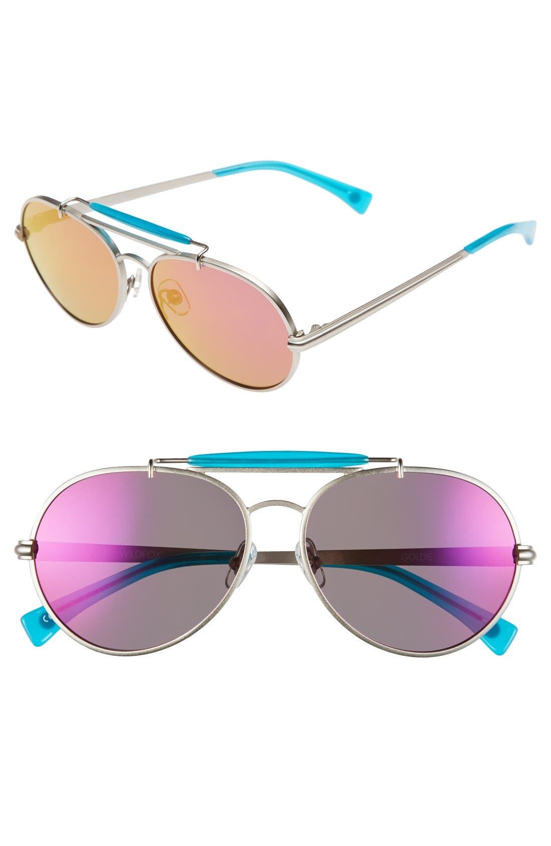 Main Image - Wildfox 'Goldie Deluxe' 55mm Mirrored Aviator Sunglasses