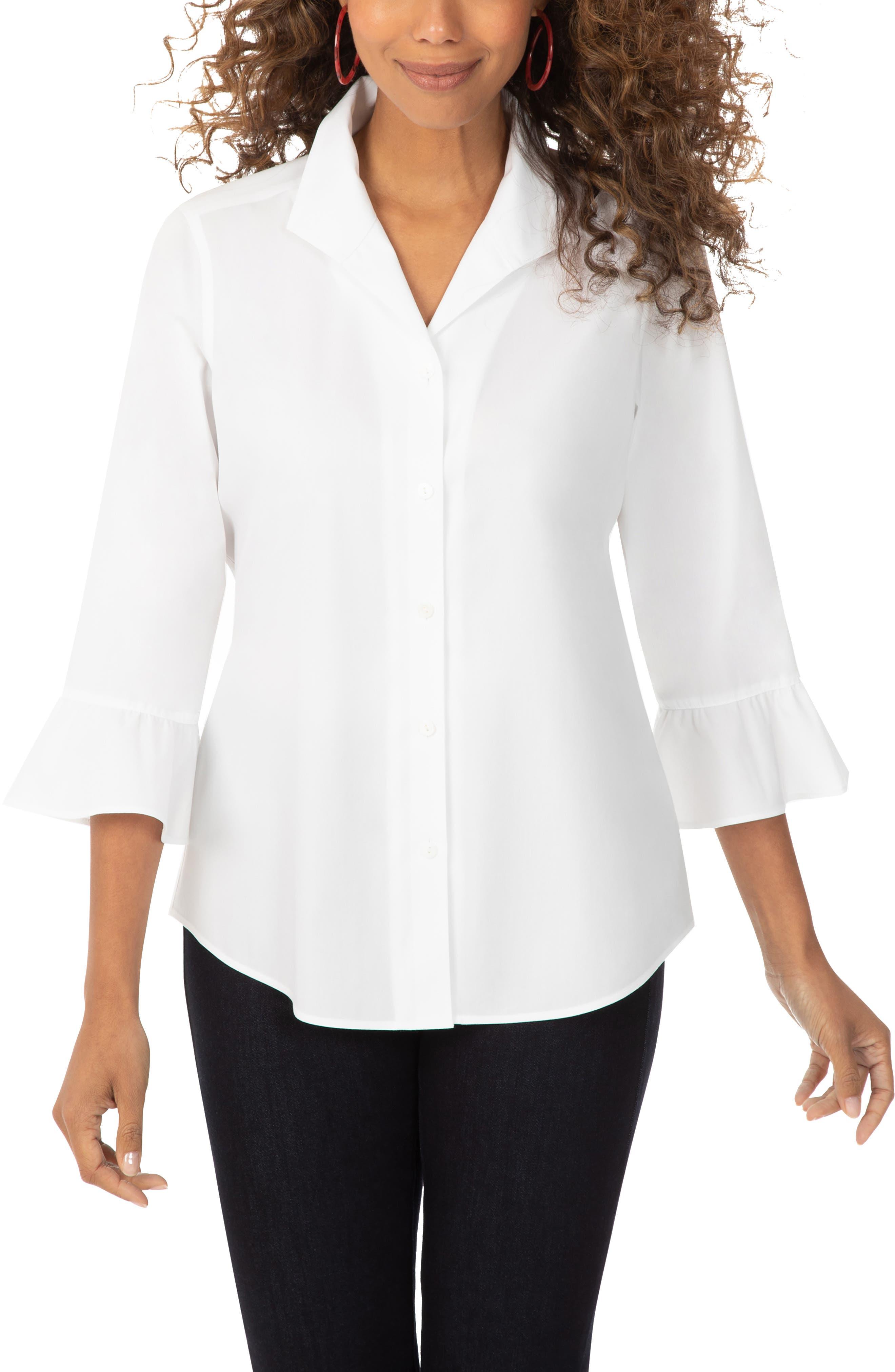 Foxcroft Womens Morgan Stretch Non-Iron Day Stripe Shirt