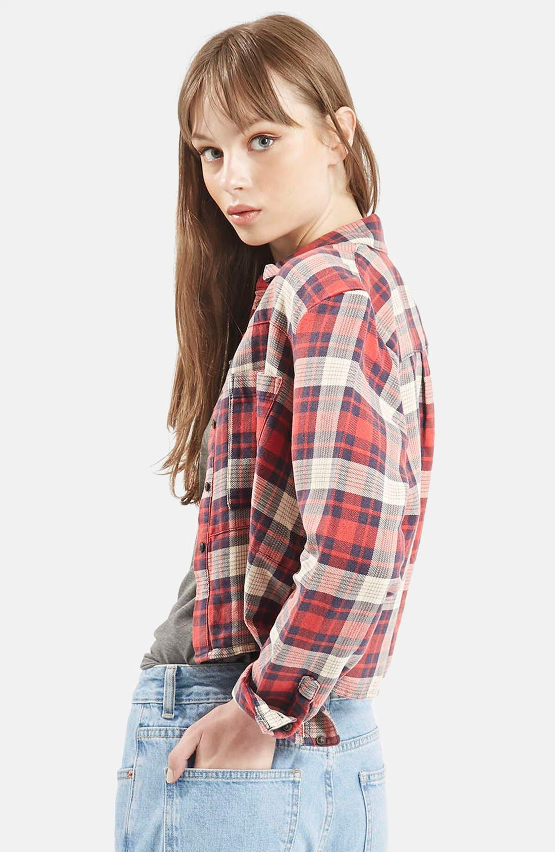 Alternate Image 3  - Topshop 'Chloe' Crop Plaid Shirt