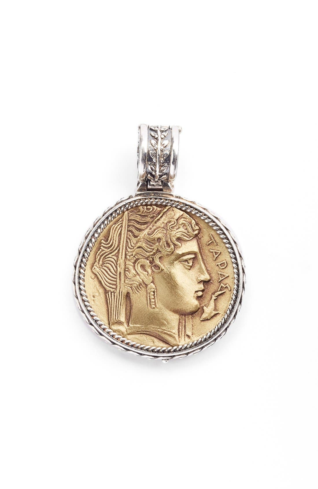 'Demeter' Coin Pendant,                             Main thumbnail 1, color,                             Silver/ Bronze