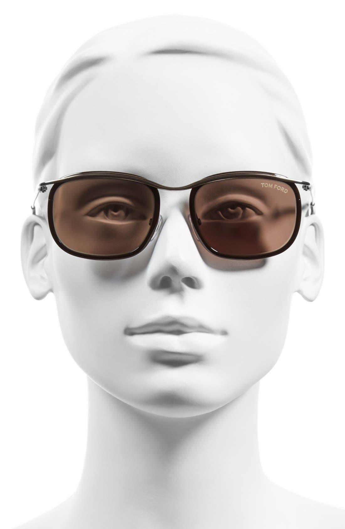'Marcello' 53mm Sunglasses,                             Alternate thumbnail 2, color,                             Shiny Black/ Ruthenium/ Roviex