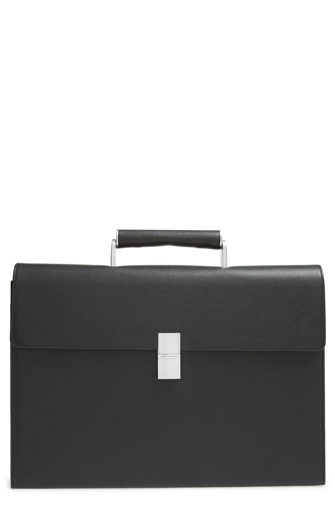 French Classic 3.0 Leather Briefcase,                         Main,                         color, Black