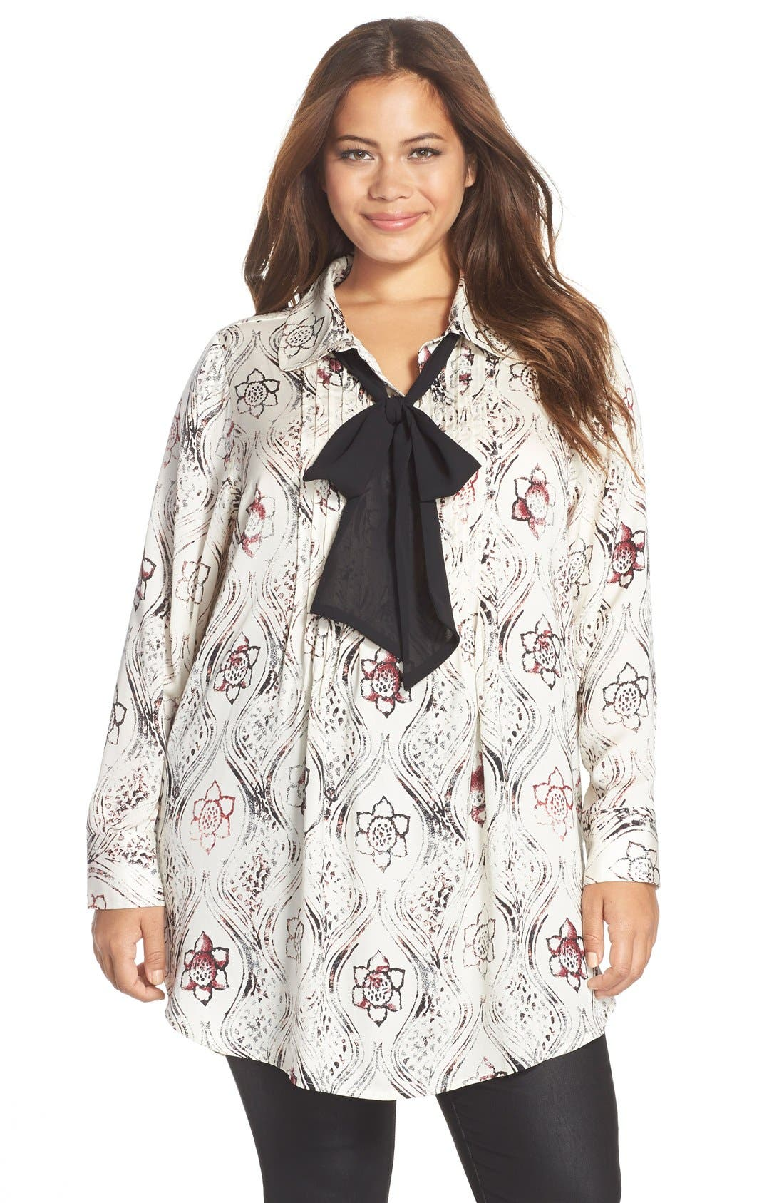 Alternate Image 1 Selected - Melissa McCarthy Seven7 Print Scarf Neck Blouse (Plus Size)