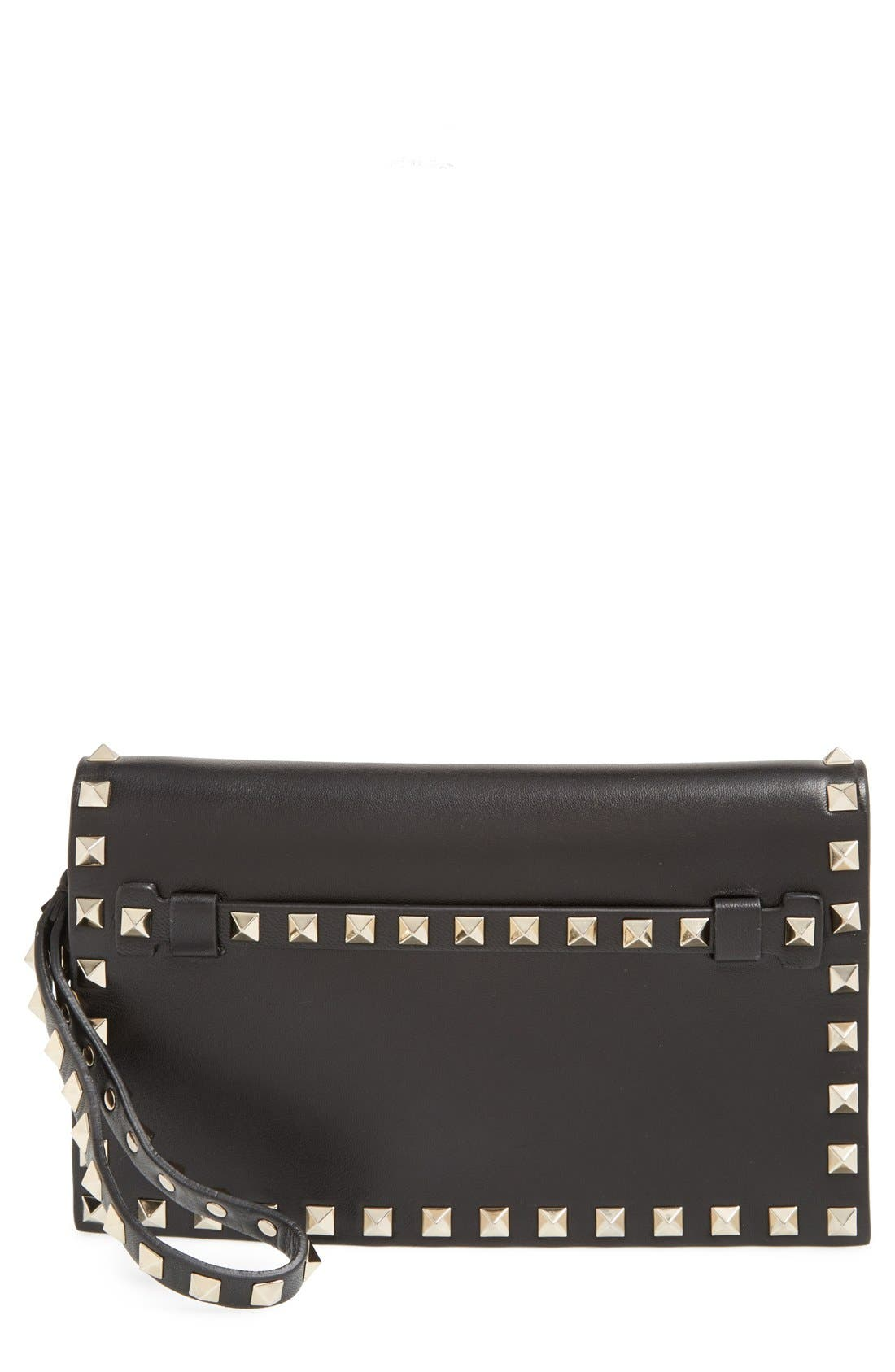 Main Image - Valentino 'Small Rockstud' Leather Flap Clutch