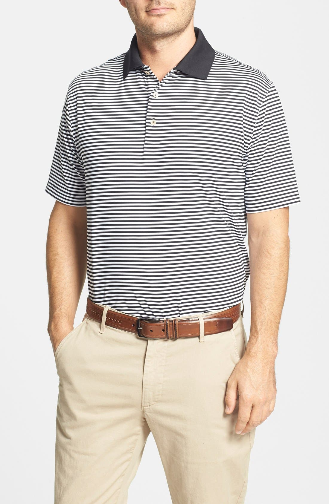Main Image - Peter Millar 'Competition' Stripe Stretch Microfiber Golf Polo