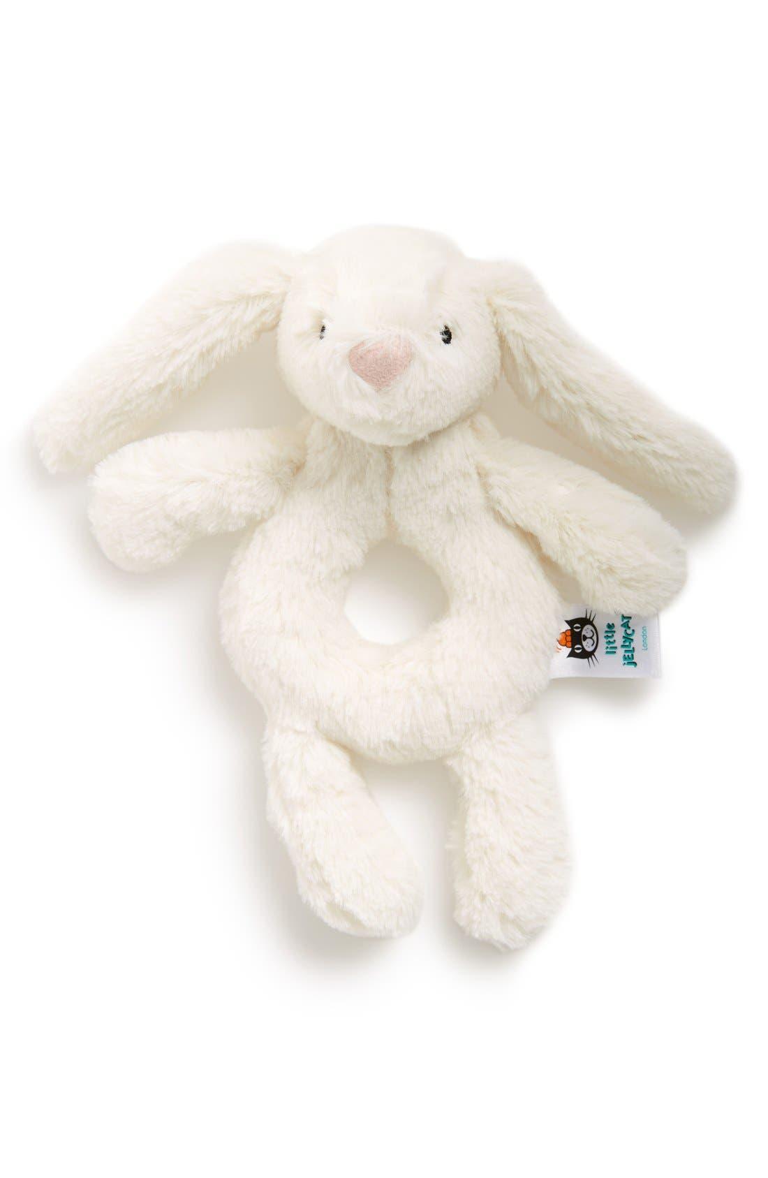'Bashful Bunny' Grabber Rattle,                             Main thumbnail 1, color,                             Cream