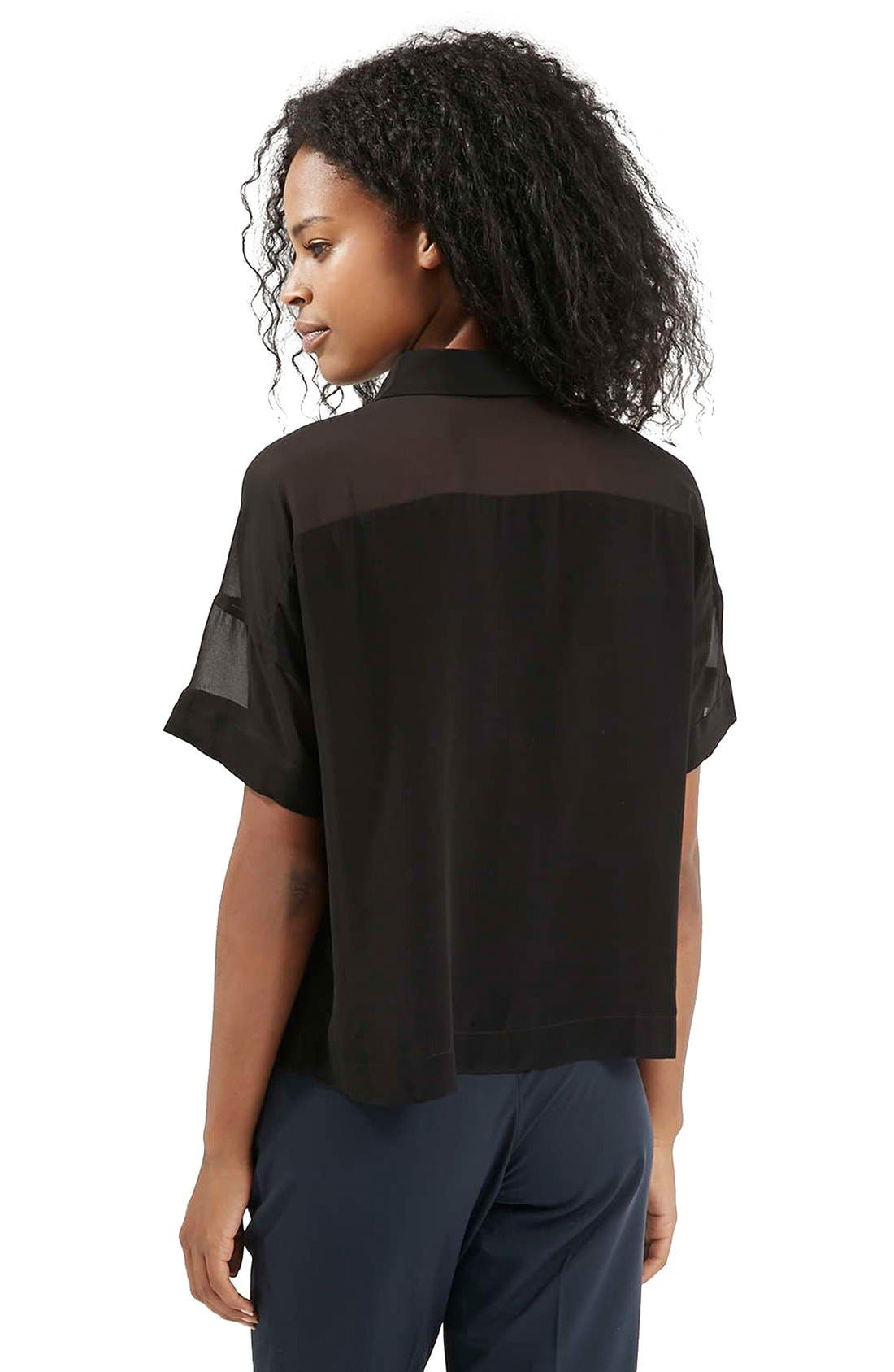 Alternate Image 3  - Topshop Chiffon Panel Shirt