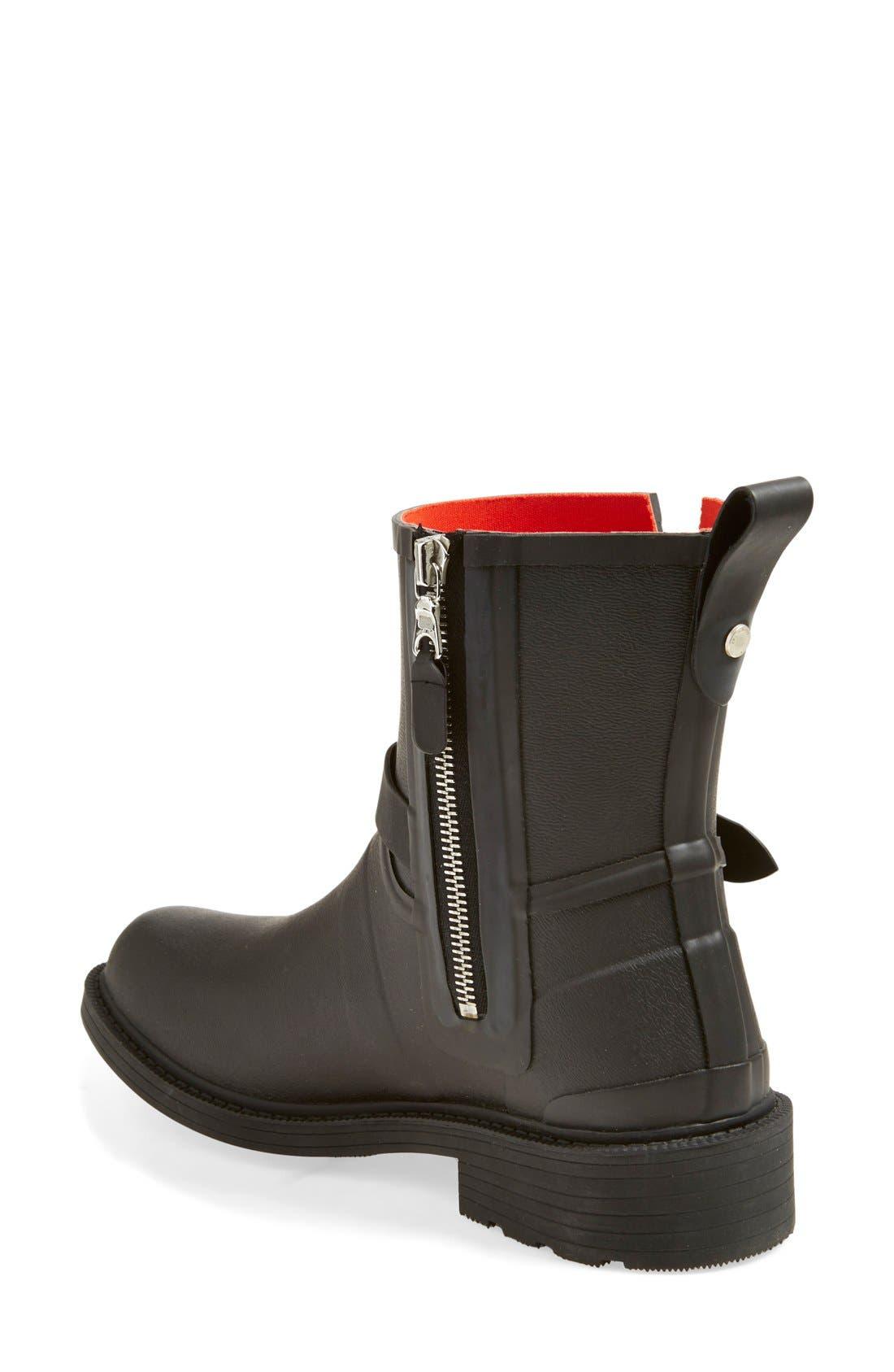 Moto Rain Boot,                             Alternate thumbnail 2, color,                             Black Rubber