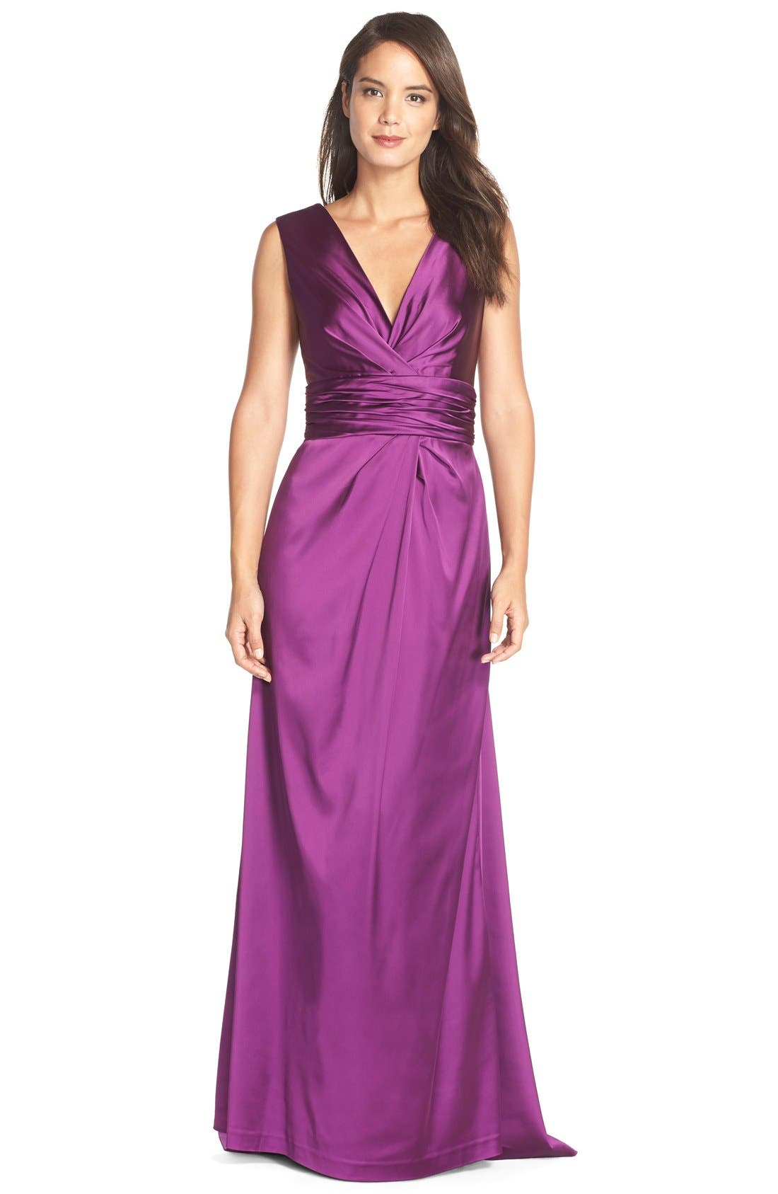 Gathered Satin Gown,                         Main,                         color, Aubergine