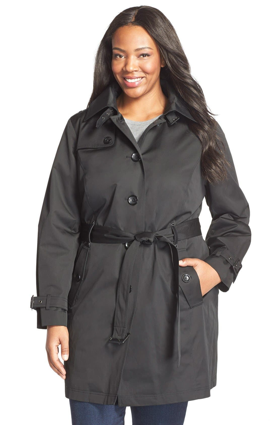 Single Breasted Raincoat,                         Main,                         color, Black