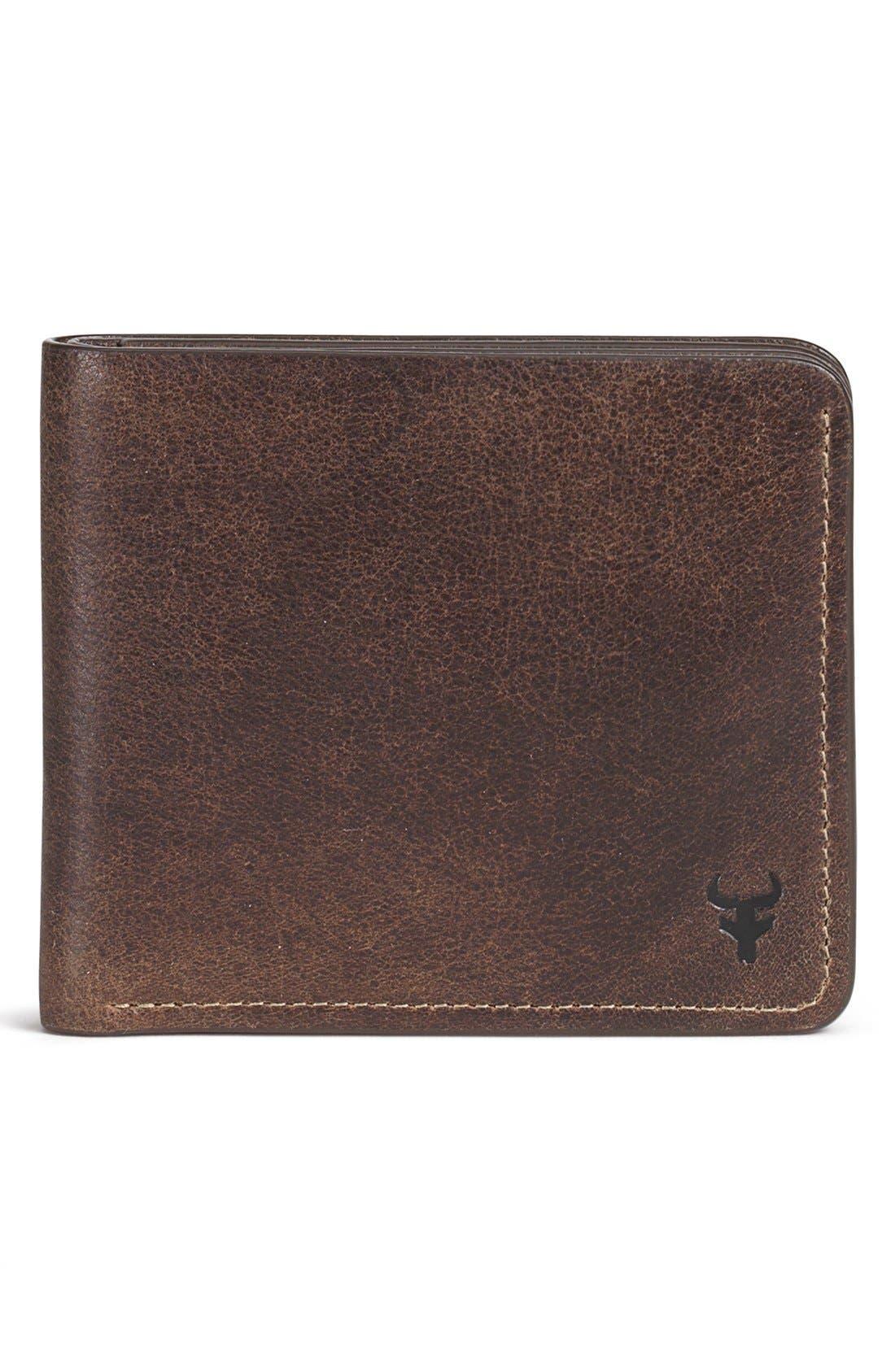 'Jackson' Slimfold Bison Leather Wallet,                         Main,                         color, Walnut