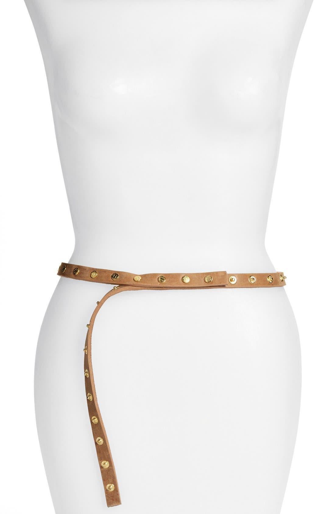 ADA 'Cala' Studded Skinny Leather Belt in Tan
