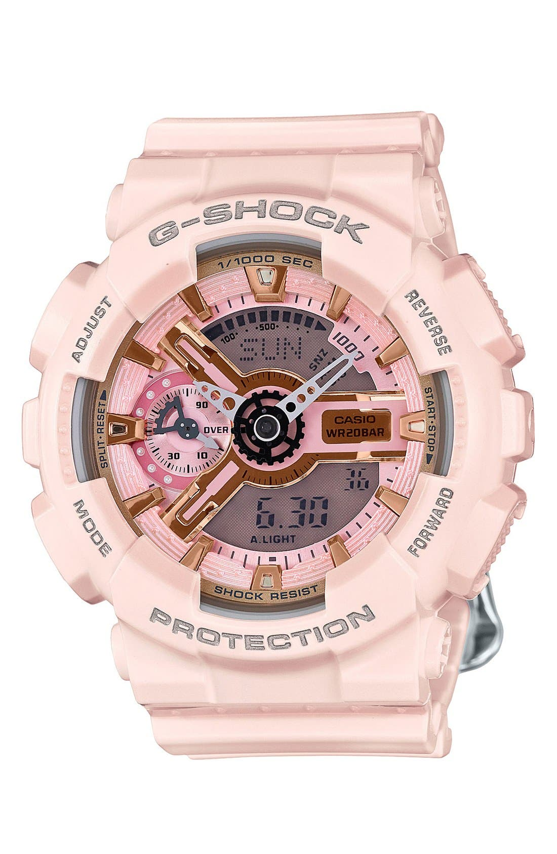 G-Shock 'Ana-Digi' Resin Watch, 49mm,                         Main,                         color, Pink