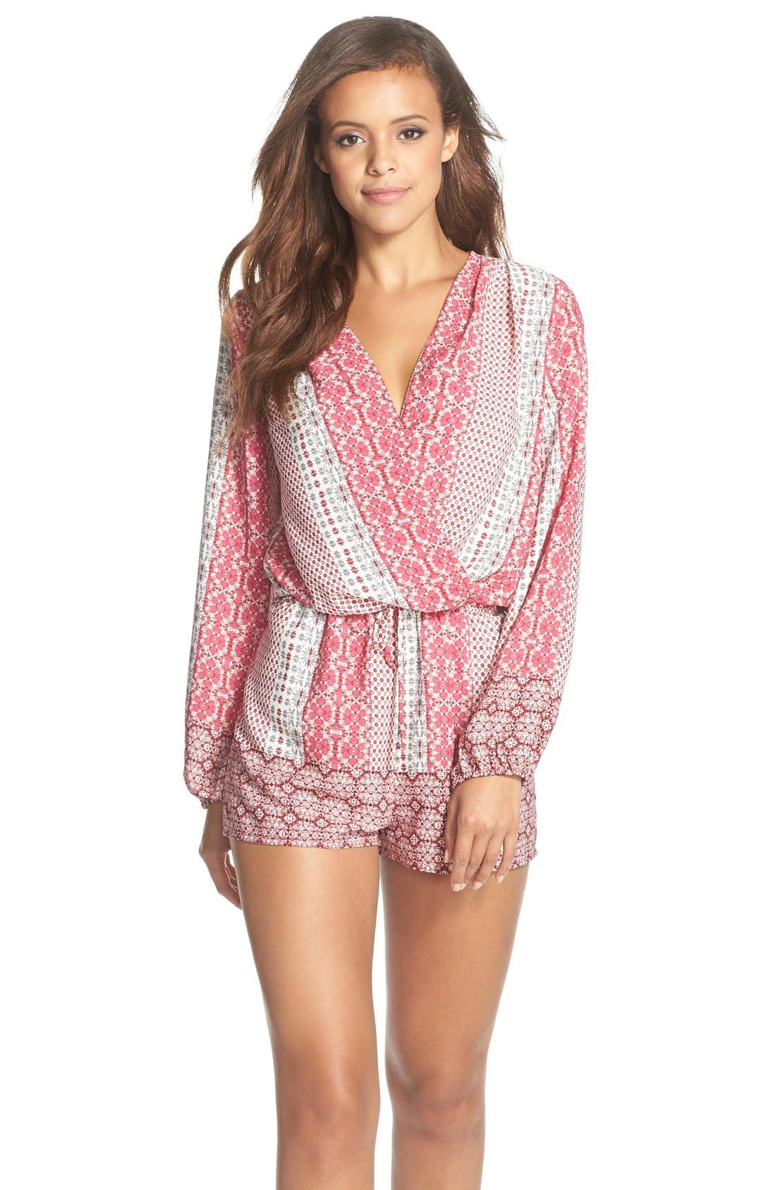 Main Image - Fraiche by J Print Long Sleeve Romper