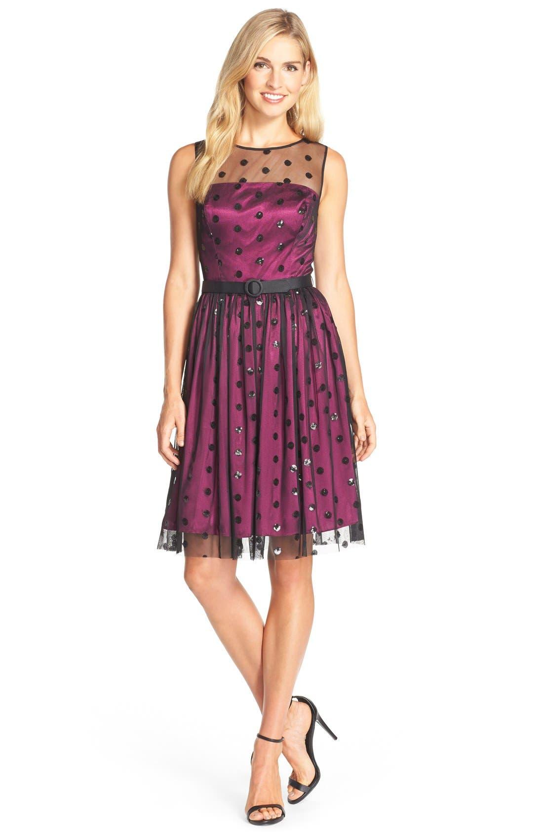 Alternate Image 3  - Eliza J Sequin Polka Dot Mesh Fit & Flare Dress