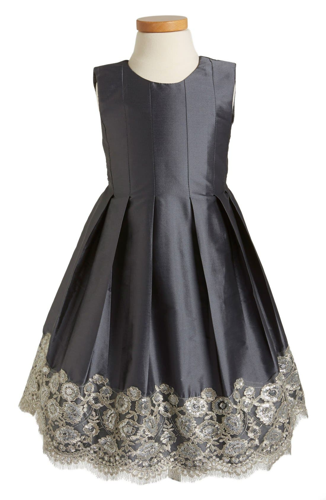Floral Lace Pleated Dress,                             Main thumbnail 1, color,                             Charcoal Taffeta