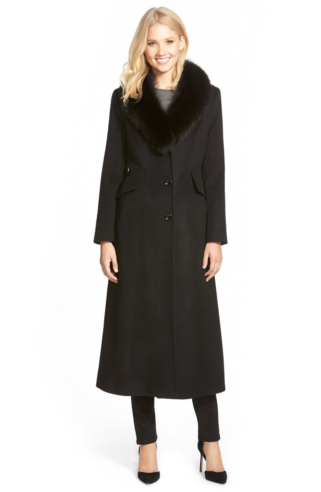 Sachi Genuine Fox Fur Shawl Collar Long Wool Blend Coat (Regular & Petite)