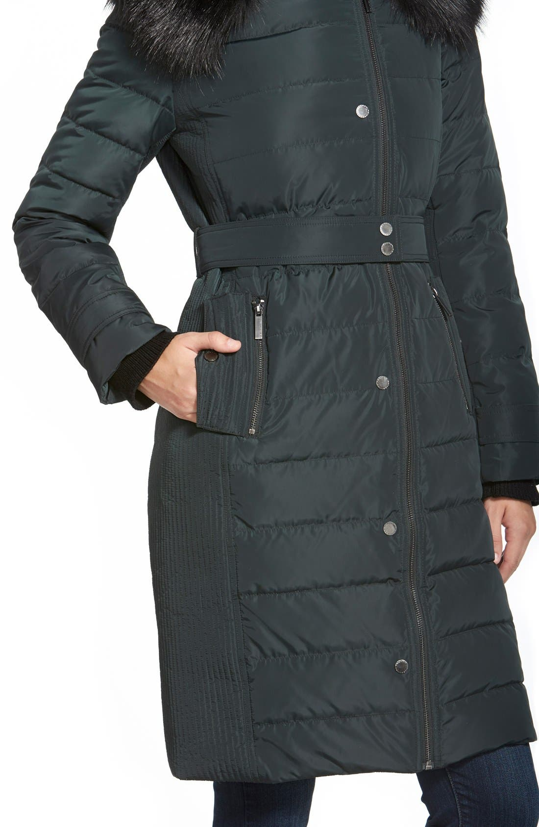 Alternate Image 6  - French Connection Asymmetrical Down Coat with Faux Fur Trim