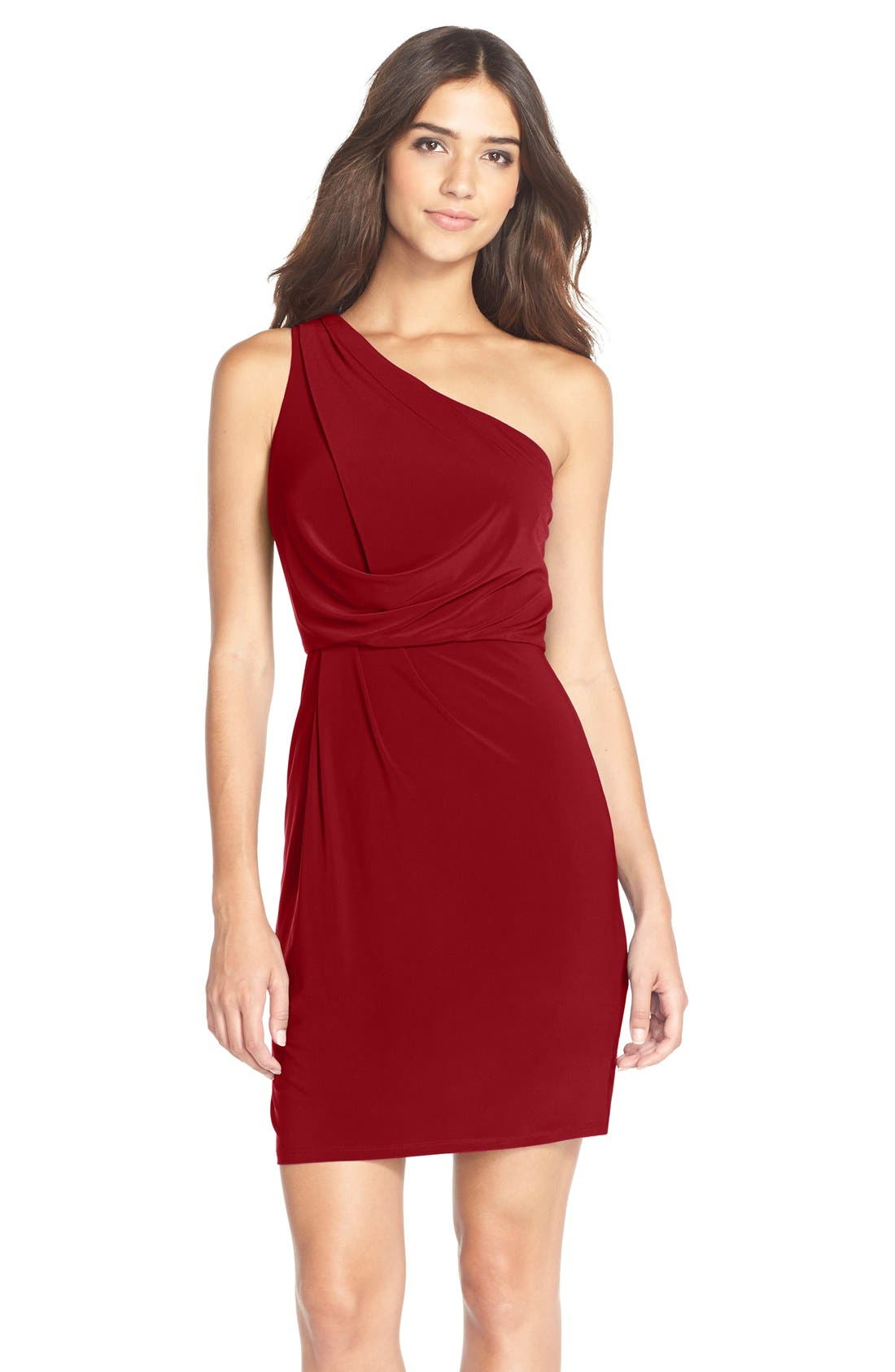Alternate Image 1 Selected - Adrianna Papell One-Shoulder Jersey Blouson Dress