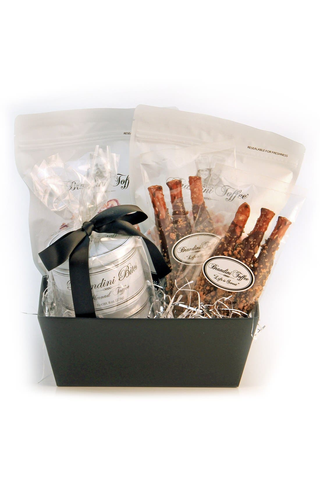 Medium Gift Basket,                         Main,                         color, Black/ Silver